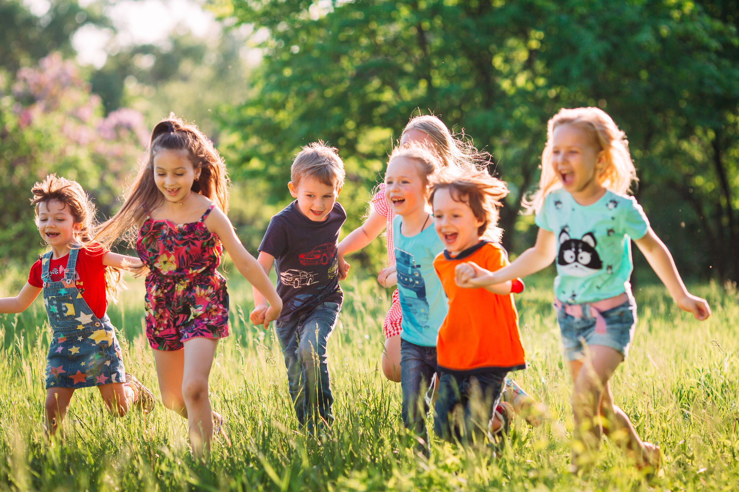 A group of happy children playing together